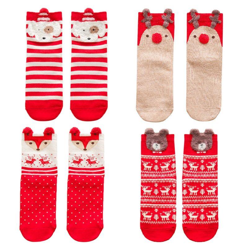 Women Girls Socks Cute Cartoon 3D Animal Elk Fox Christmas Long Crew Socks Cotton Gift Women Socks