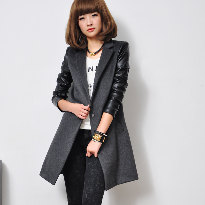 Popular Leather Wool Coats-Buy Cheap Leather Wool Coats lots from