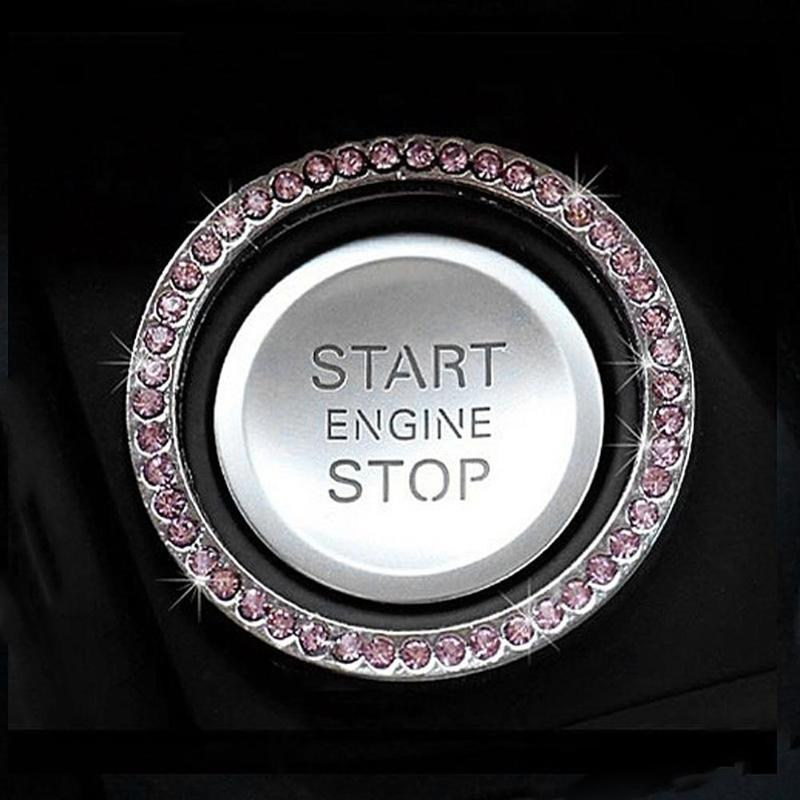 "HTB1Rbg1zkSWBuNjSszdq6zeSpXae 40mm/1.57"" Auto Car Bling Decorative Accessories Automobiles Start Switch Button Decorative Diamond Rhinestone Ring Circle Trim"