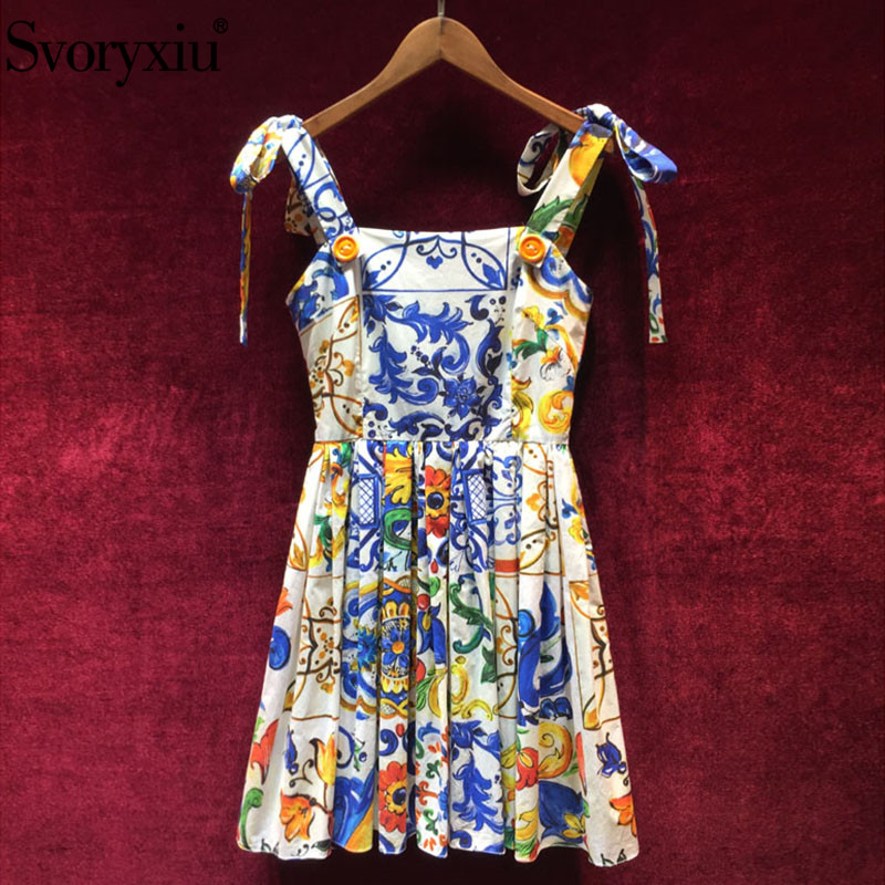 Svoryxiu 2019 High Quality Summer Cotton Dress Women s Painted Pottery Printed Sexy Backless Spaghetti Strap