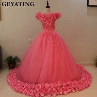 Vestidos De Debutante Princess Pink Ball Gown Quinceanera Dress 2017 Off Shoulder 3D Flowers Sweet 16