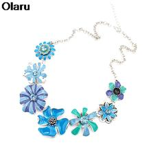 Fashion Jewelry 2 Colors Bohemian Choker Flower Necklace Festival Jewelry Maxi Statement Pendants Necklaces Woman New Hot