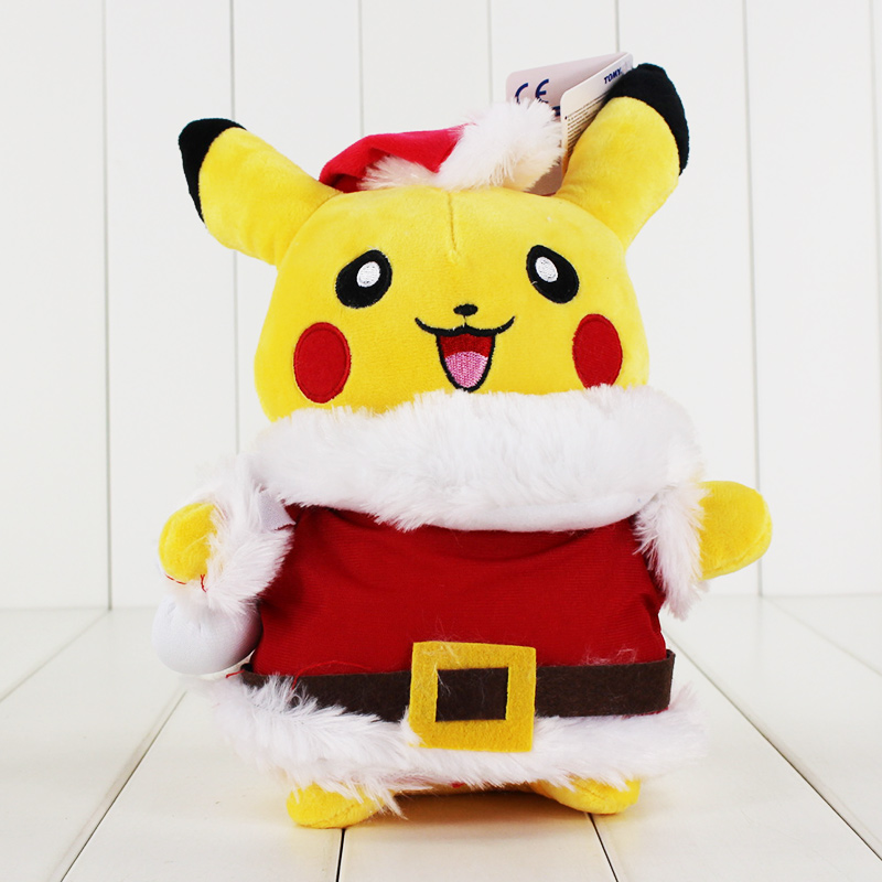 Buy Anime Pikachu Cosplay Santa Claus Plush Toy Stuffed Soft Doll With Tag Christmas Gift For Children 28cm Free Shipping for only 11.11 USD