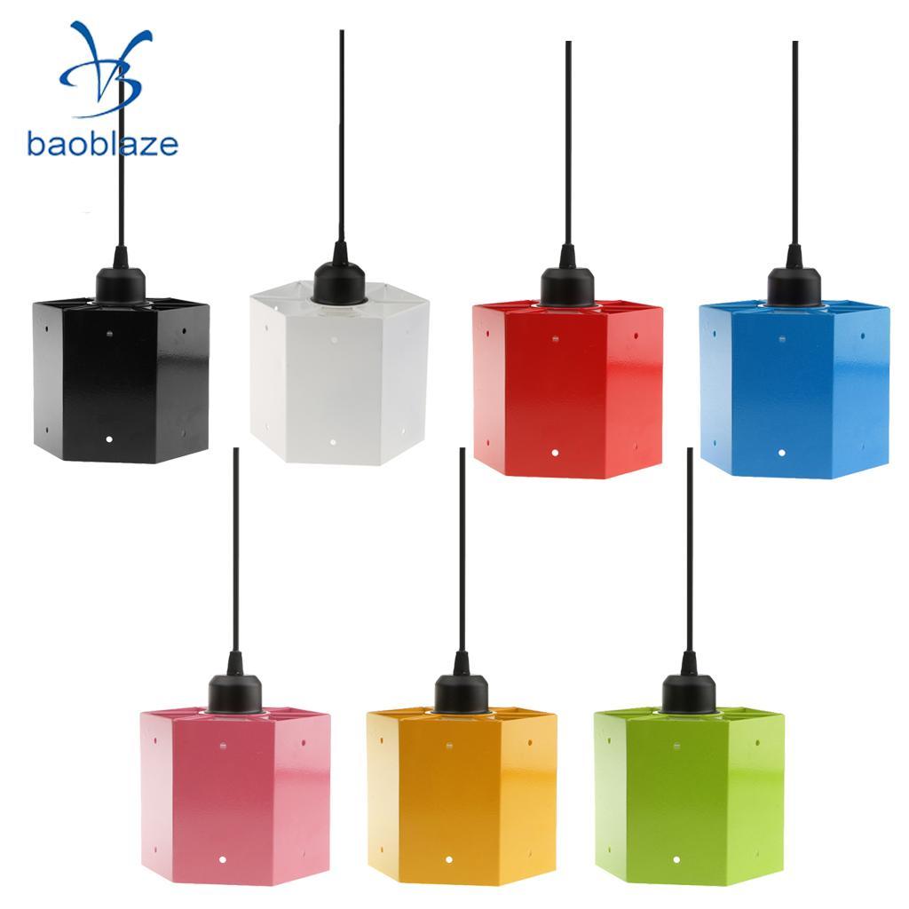 Baoblaze Hexagon Ceiling Light Shade Cover Pendant Lampshade Seven Colors
