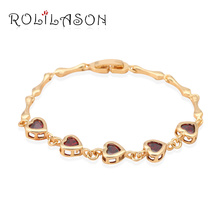 Heart Garnet Crystal design K yellow Gold Tone Bracelets for women Health Nickel & Lead free fashion jewelry TB165