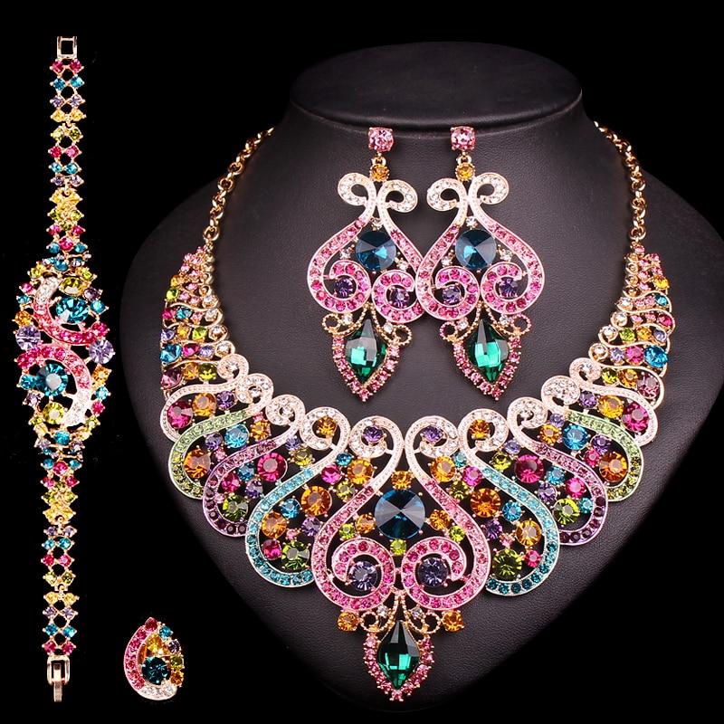Luxus Brautschmuck Sets Hochzeit Verlobung Halskette Ohrring Set - Modeschmuck - Foto 2