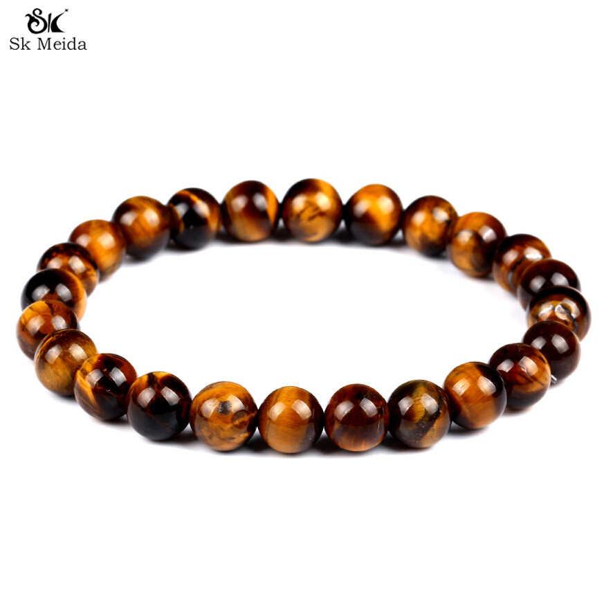 Natural Stone Strand Bracelet Obsidian Tiger Eye stone Lava Stone Beaded Crystal Jewelry handmade Beads Bracelets Jewelry HE-00