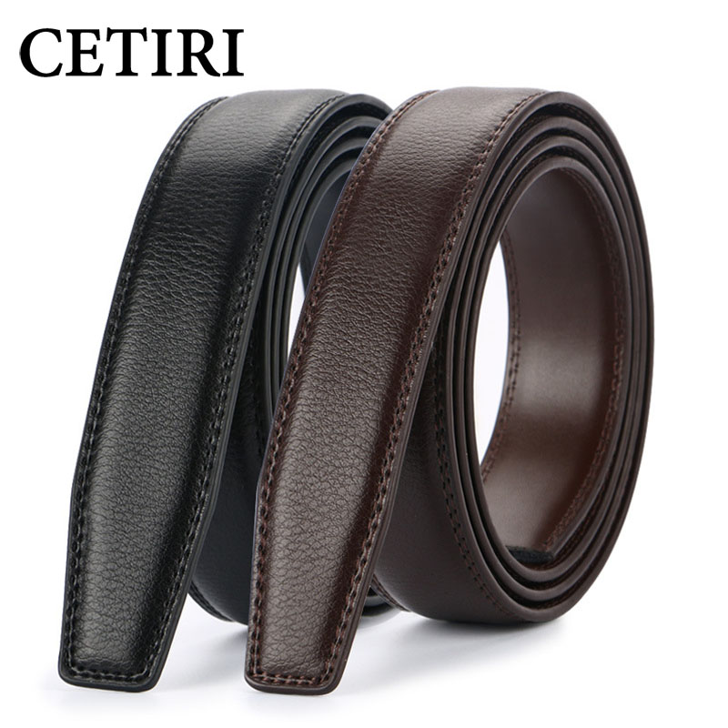 CETIRI 3.1cm No Buckle Designer Mens Belts Body Cowskin Genuine Leather High Quality Men Automatic Belt Body Kemer Black Brown