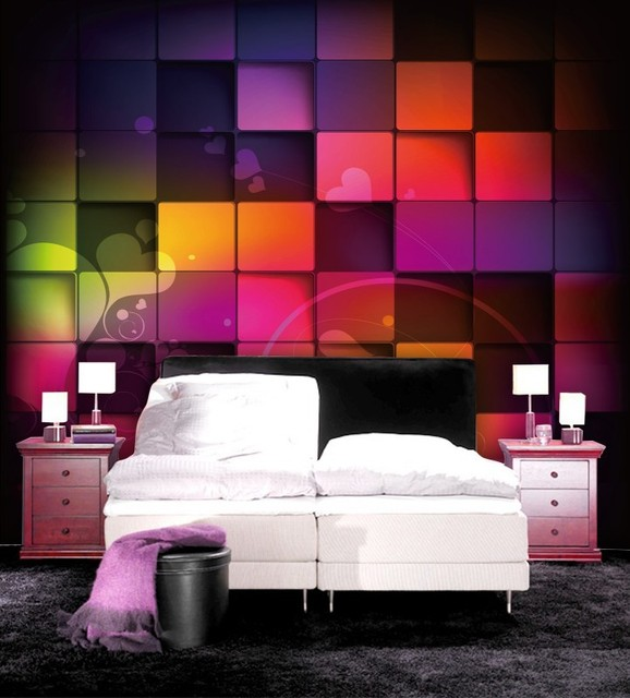 3D Style Characteristic Graph Newest Western WallpaperConcave Convex Colored Block