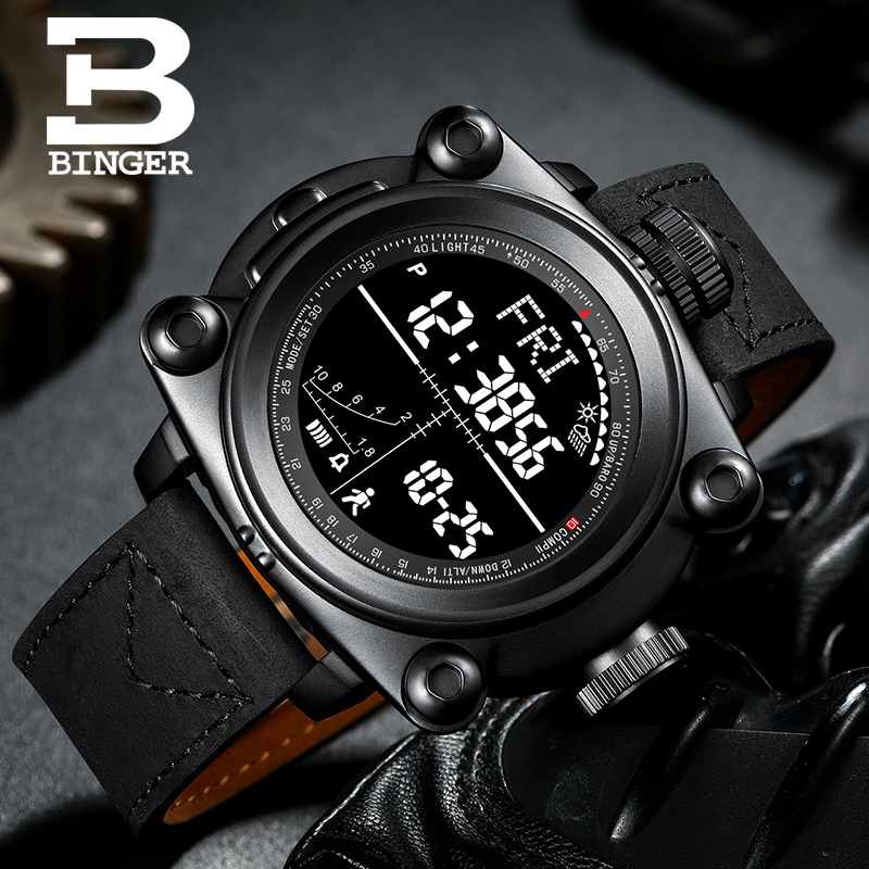 Smart Men Watches Outdoor sport Digital wristwatches step counting function/altitude/pressure/weather/compass/temperature BINGER - 5
