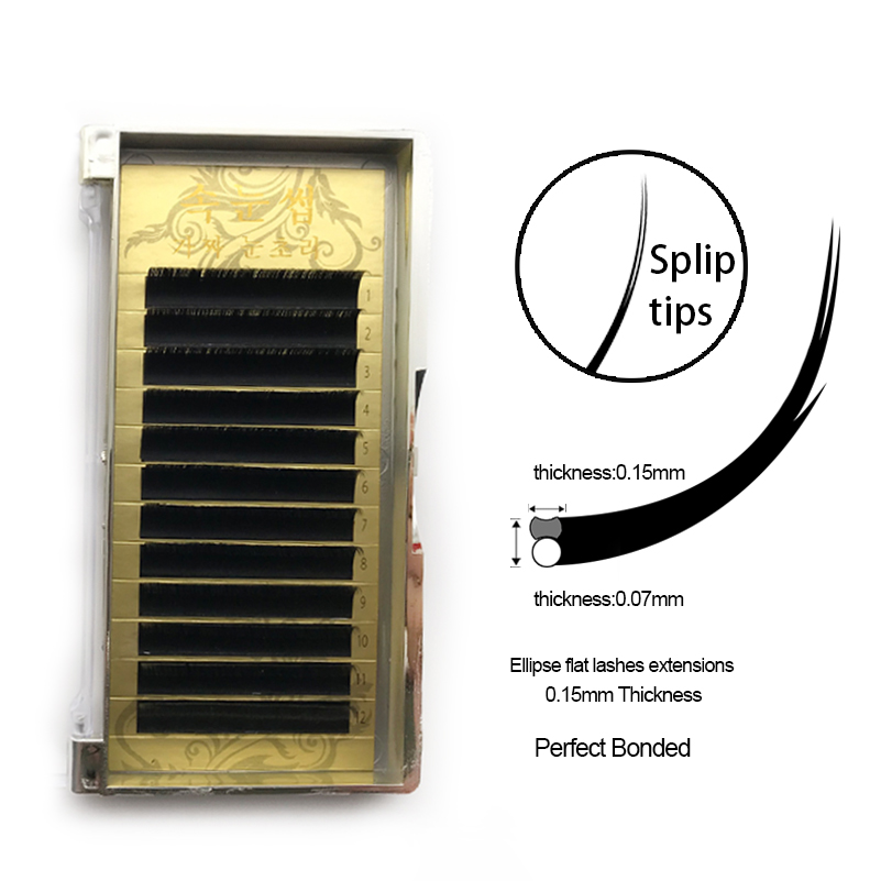 12Rows Ellipse Flat Eye Lashes Extension, All Size Volume Individual False Eyelashes Mink 3D Natural Eyelashes 8-15mm B/C/D Curl