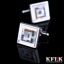 KFLK Jewelry shirt cufflinks for mens Brand Coloured Shell Cuff link Fashion Button High Quality Luxury Wedding Free Shipping cheap Tie Clips Cufflinks Cuff Links Trendy shenyuncaibeiK043 Copper Square Different orders have different packaging refer to Product Details