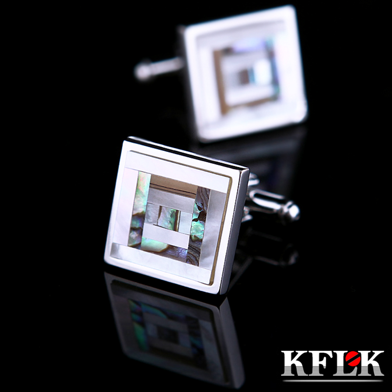 KFLK Jewelry Shirt Cufflinks For Mens Brand Coloured Shell Cuff Link Fashion Button High Quality Luxury Wedding  Free Shipping