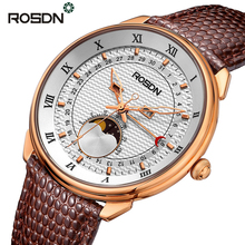 ROSDN Moon Phase Calendar Function Sapphire Luxury Men Watch Waterproof Leather Strap Casual Sport Watches relogios masculino