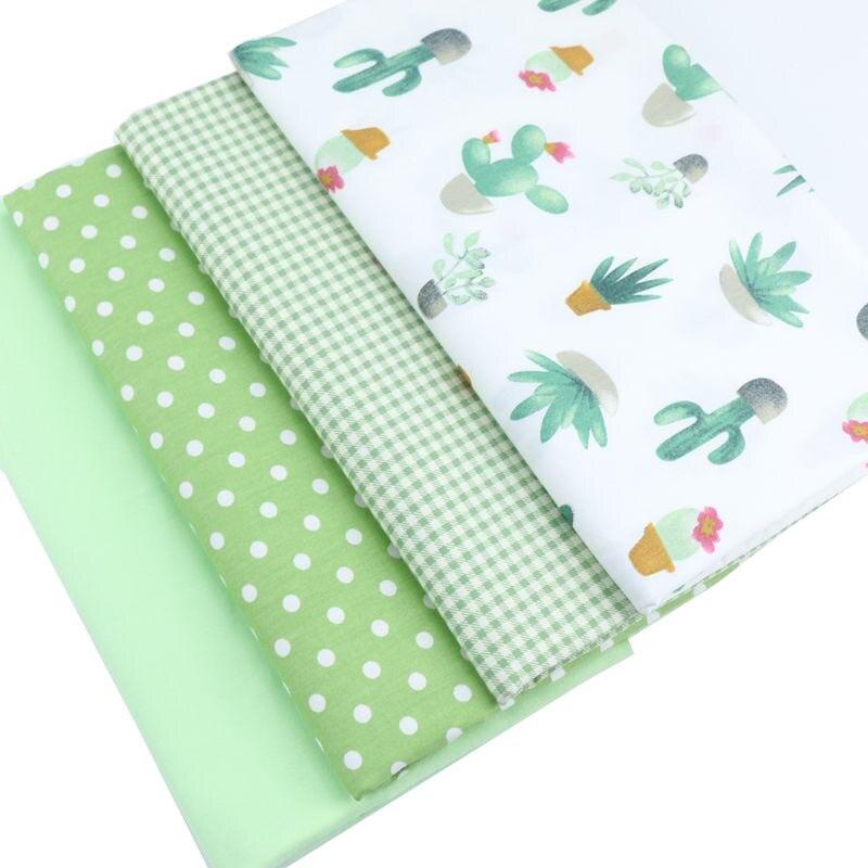 Syunss cactus verde grade ponto impresso tecido de algodão diy retalhos tecido costura bebê brinquedo cama estofando tecido o pano
