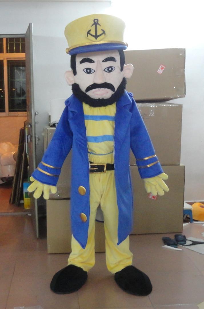 Горячая Распродажа бородатый капитан костюм талисман для взрослых капитан талисман человек талисман