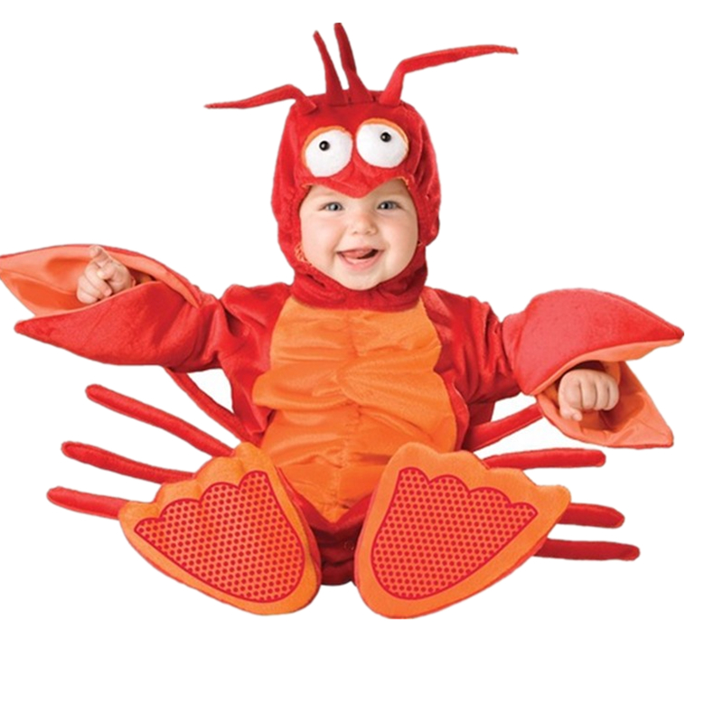 ФОТО 2017 Halloween New born Baby Boys Costume lobster animal romper toddler jumpsuits clothes