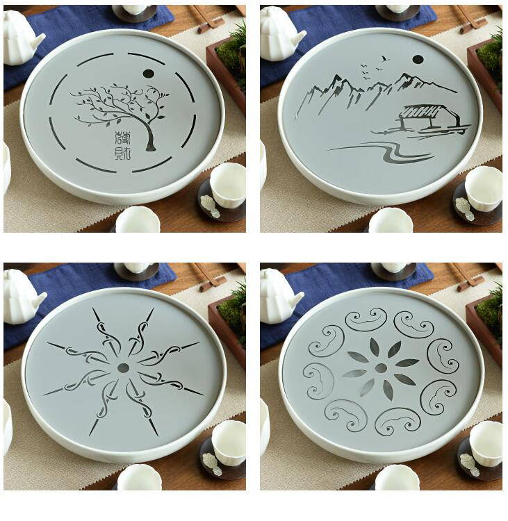 Metal Plate Ceramic Gong Fu Tea Tray 3