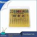 10 unids/set Relojes de Precisión Destornilladores Conjunto de Herramientas de Reparación, Plana y Tipo Cruz Assort 10 tamaño Reloj de Destornilladores