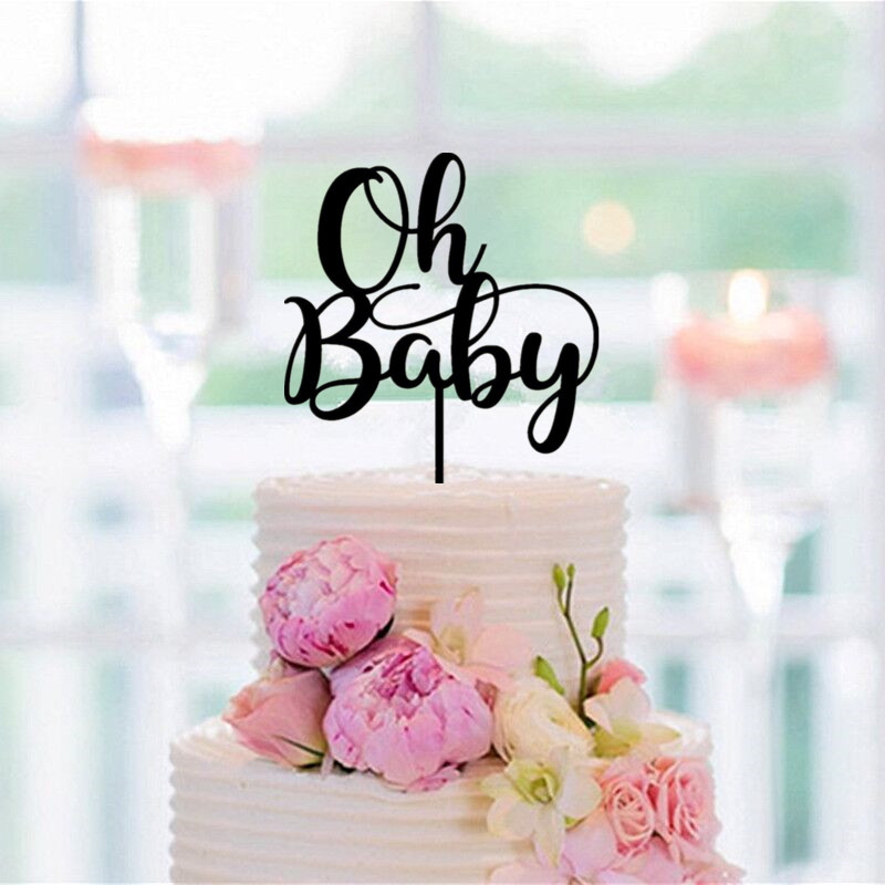 Black Acrylic Oh Baby Cake Topper Baby Kids Birthday Cake ...