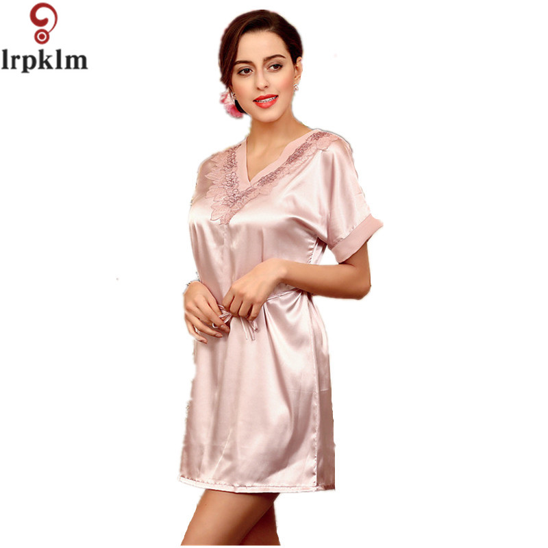 Satin Nightshirts For Women Ladies Faux Silk Sleep Dress Female Nightdress Sleepwear Pijama Pyjama Nightwear Summer Nightgown101