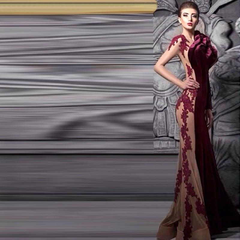 Deep Wine Red Velvet Evening Dresses Full Sleeve Unique Design with Flower Formal  Dress Appliqued Slim Fitted Floor-Length 2015 51384384bf4d