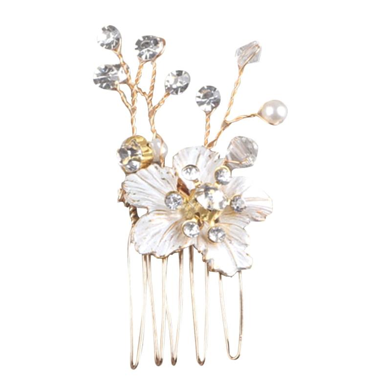 Hair Jewelry Gold Women Crystal Comb Bride Hair Accessories Handmade Wedding Flower Hair Comb Headdress