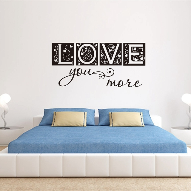 Large size free shipping bedroom decor love you more vinyl wall decal sticker letters love art
