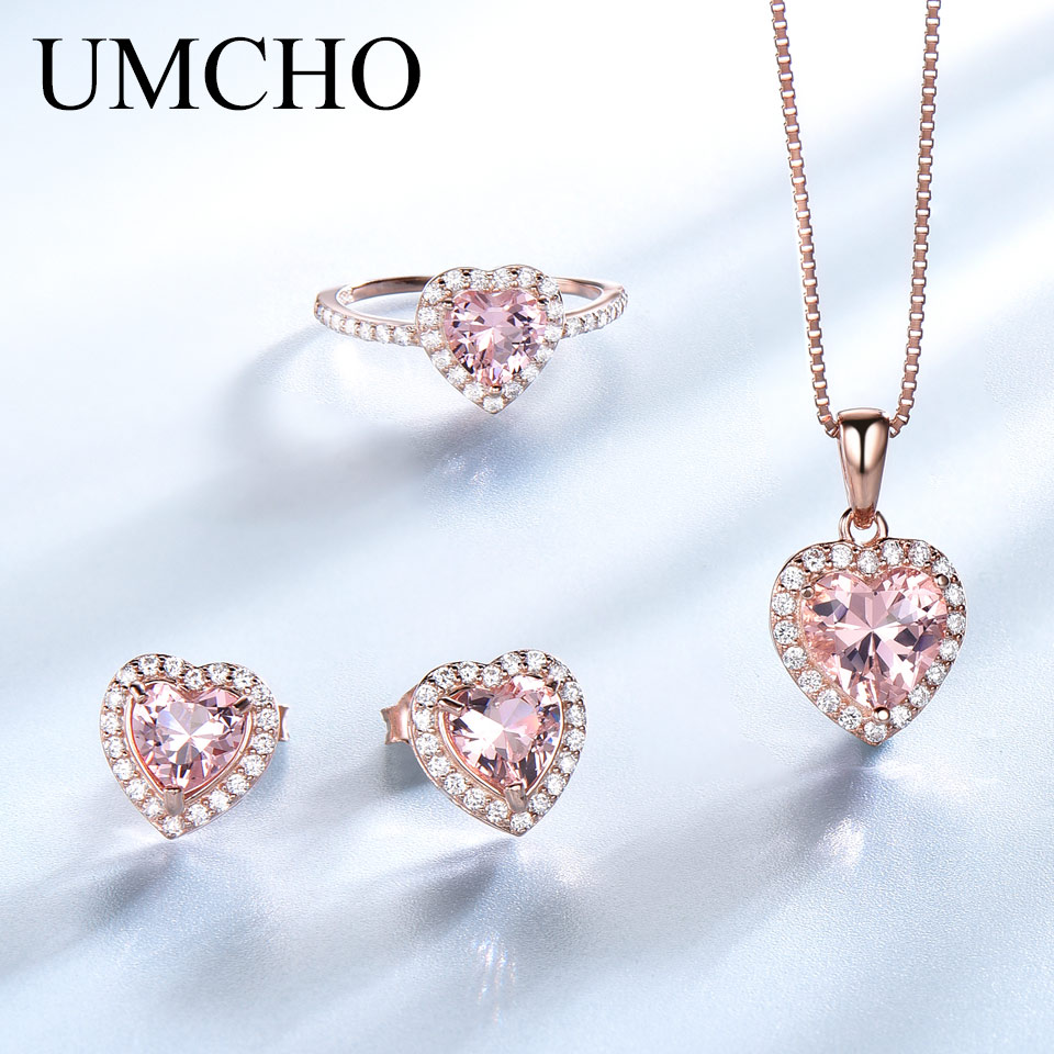 UMCHO 925 Sterling Silver Jewelry Set For Women Romantic Heart Morganite Pendant Stud Earrings Party Valentine