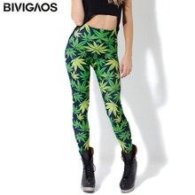 Женские леггинсы с принтом BIVIGAOS, летние тонкие Стрейчевые леггинсы с зеленым листом, черные молочные штаны
