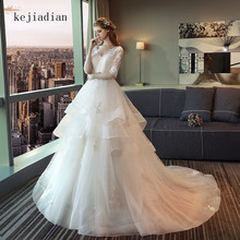 kejiadian Muslim Wedding Dress Court Train Bride Dresses