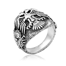 Antique Silver Plated Wide Cavered Double Head Eagle Signet Ring For Mens Jewelry Bague Finger Jewellery Retro bijoux