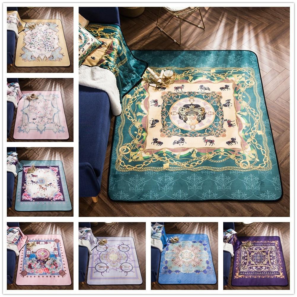Style européen cour tapis chambre salon Table basse tapis/enfant ramper tapis cristal velours canapé zone tapis maison plancher tapis