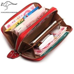 Image 5 - KANGAROO KINGDOM หนังแท้กระเป๋าสตางค์ผู้หญิงยาวกระเป๋าสตางค์คู่ซิปกระเป๋าคลัทช์สุภาพสตรีแบรนด์สำหรับ