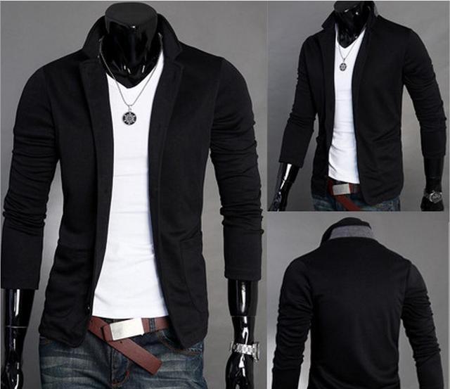 7c0f9f09263f8 Estilo británico de moda para hombre delgado traje pequeño Trajes chaqueta Abrigos  hombres casual coat botón