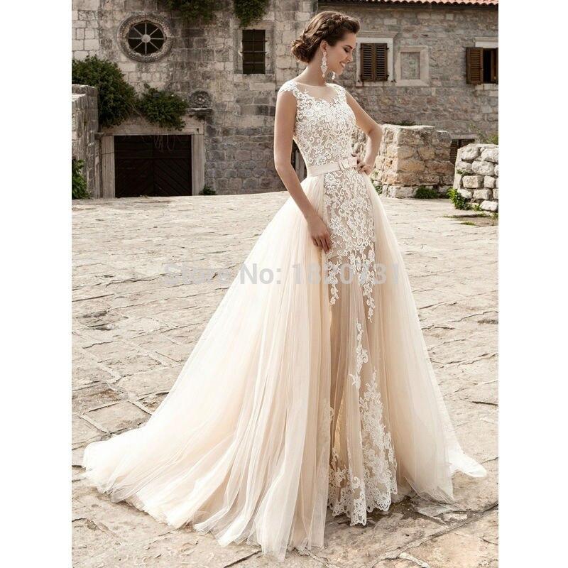 Detachable Wedding Dress.Us 164 25 25 Off Vestido De Noiva Bridal Gown Champagne Vintage Sexy Lace Detachable Skirt Wedding Dress 2019 Detachable Wedding Dress Train In