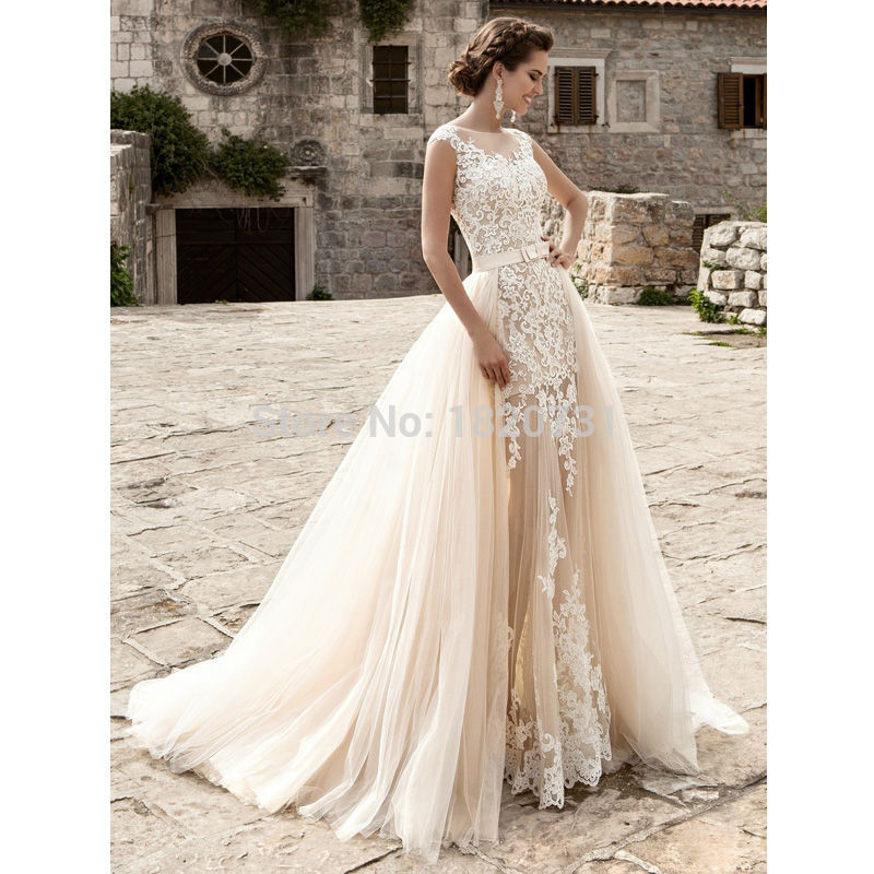 Vestido De Noiva vestido de Novia Champagne Sexy Vintage de Encaje Desmontable F