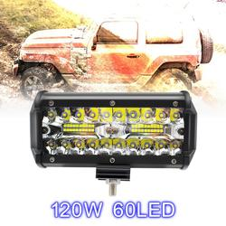 7 Inch 120W 16000LM 6000K White Three Rows Auto Car Work Light LED Bars Worklight Lamp for Truck Motorcycle SUV/ATV Car Boat