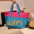 Nylon cloth water wash cloth patchwork color block one shoulder big bag win letter bag