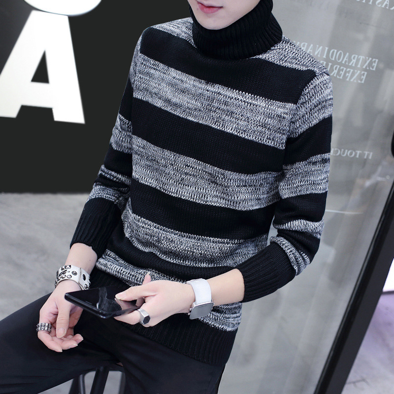 High Quality Winter Men's Sweater Knitted Sweater Turtleneck Sleeve Head Warm Male
