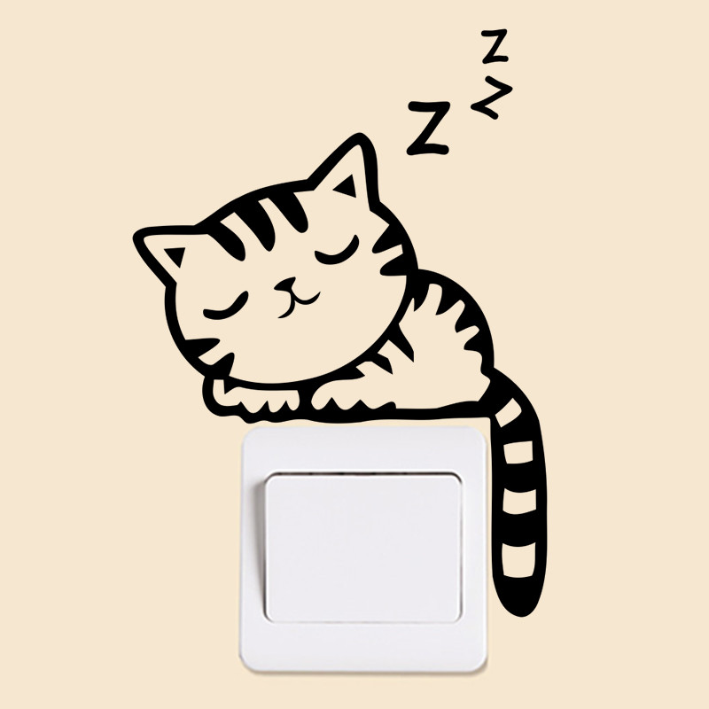 Cat Sleeping Switch Sticker Wall Stickers Bedroom Decoration 3119 Living Room Nursery Wall Decals Wallpaper Poster