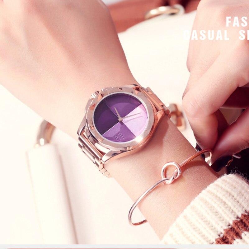 Moda GUOU Dial grande reloj ocasional señora Simple relojes de acero inoxidable mujer personalidad regalo pulsera de cuarzo