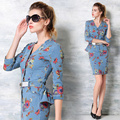 European New Women Seven Point Sleeve Printing Collar Pendulum Cowboy Slim Lotus Leaf jeans pinted flower elegant  female Dress