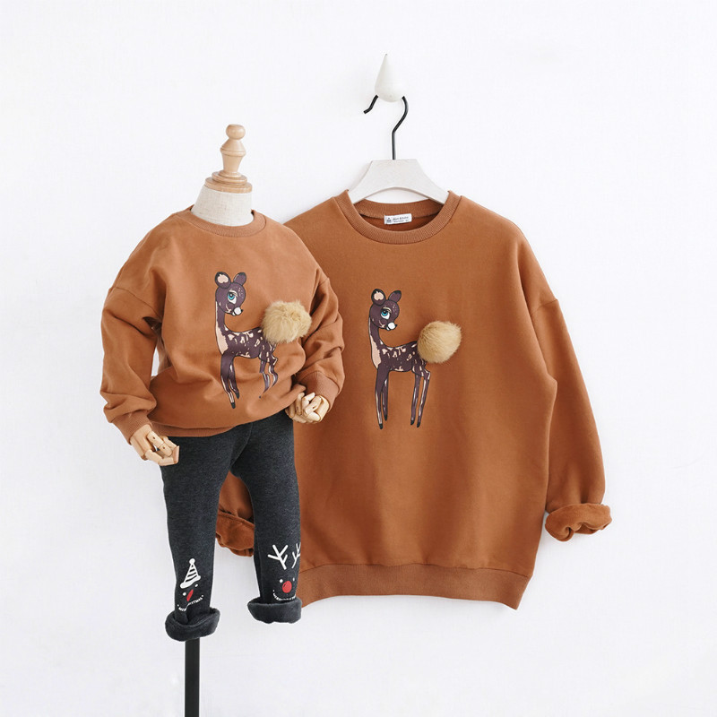 New Christmas Family Look Family Matching Outfits T-shirt Color Milu Deer Matching Family Clothes Mother Baby Long Sleeve CC527 цена 2017