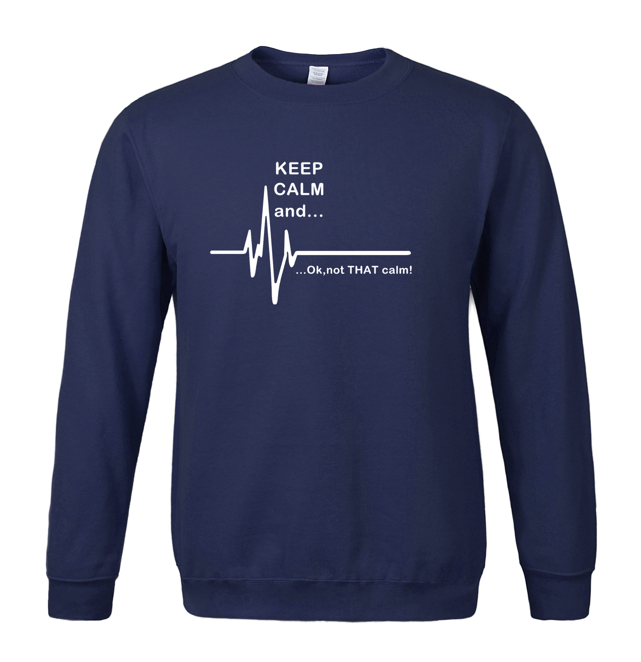 Sweatshirt Fleece Calm Funny Tracksuits Fashion No EKG Heart-Rate-Print That And...not