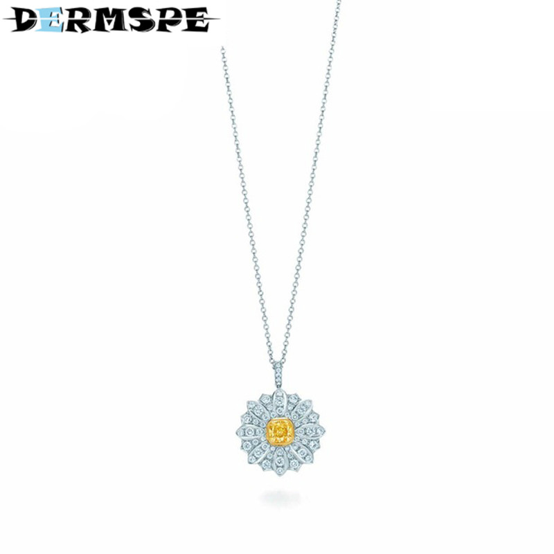 DERMSPE Fashion And Simplicity Daisy Pendant Necklace TIFF 925 Sterling Silver Nature Fashion Jewelry цены