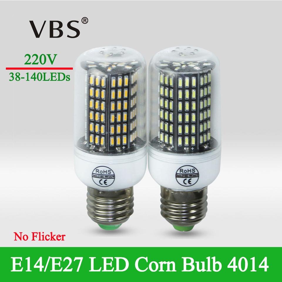 4 pcs/lot E27 Led High Luminous Flux 4014 SMD No Flicker LED Corn bulb light 220v Smart Power IC Design lampada bombillas led