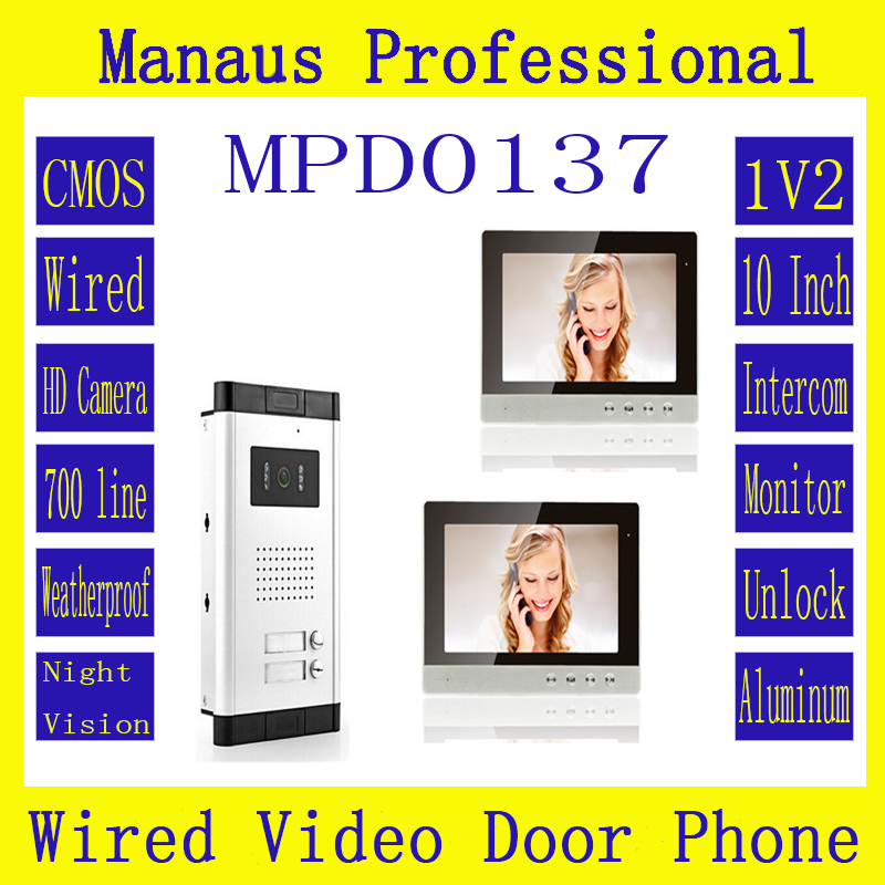 10 inch TFT LCD Color Wired Digital One to Two Video Door Phone High Quality Rainproof Smart Home 1V2 Video Intercom System D137