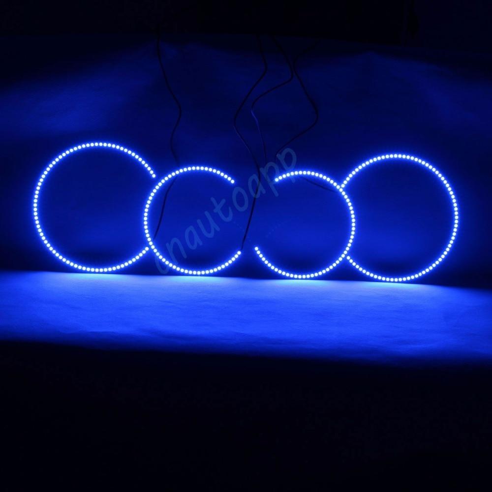 RGB Angel Eyes Multi Color LED Ring DRL Car Headlight Wireless Bluetooth Phone App Control For