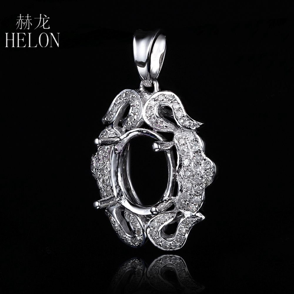 HELON 7x9mm Oval Cut Solid 10k White Gold Semi Mount Pave Fine Diamonds Pendant Fantastic Women's Jewelry Pendant Setting vintage oval 7x9mm solid 18kt white gold diamond semi mount pendant wholesale fine jewelry for girl wp025